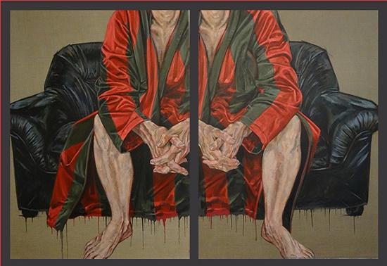 Les bandes du vieux paillard, 2015, Acrylique sur toile,  (140x100cm)x2