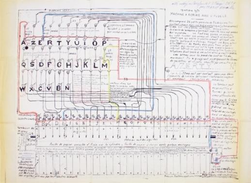 Jean Perdrizet, 1971, sans titre (machine à écrire avec l'au-delà). 54 x 65,7 cm, ronéotype, stylo à bille, feutre et crayons de couleur sur papier plié. N° inv.  1982