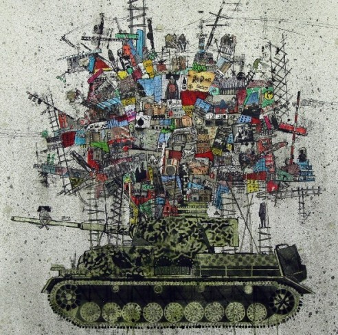 MY-CITY-ON-A-TANK-2-2015-Mixed-Media-and-collage-on-Canvas-100-x-100-1024x1016